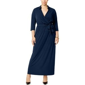 NY Collection Solid Blue Surplice Maxi Dress